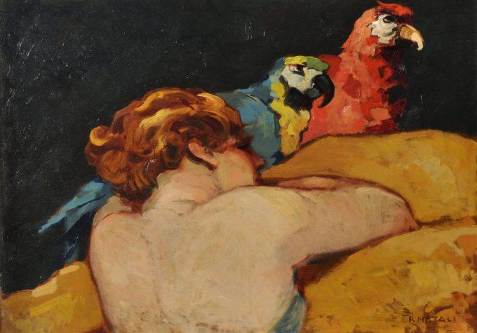 """RENATO NATALI, """"Donna con pappagallo"""", 1920 circa, olio su tela,  mostra a Viareggio 2019"""