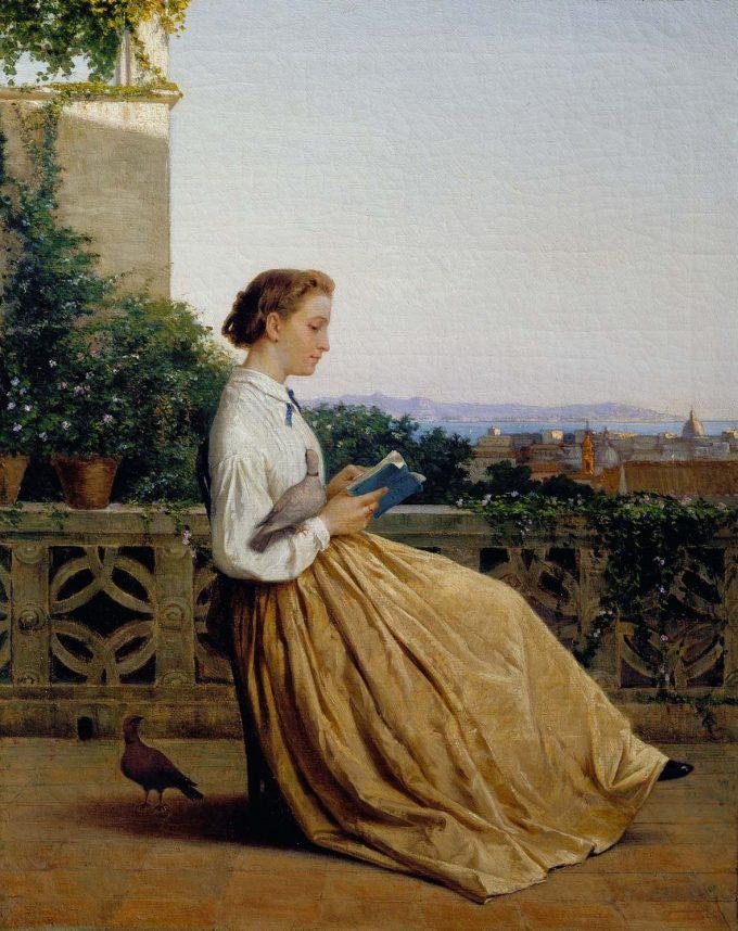 """MICHELE TEDESCO, """"Lettura in terrazza"""", 1875 circa, olio su tela mostra al Centro Matteucci per l'Arte Moderna"""