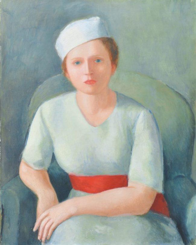 """VIRGILIO GUIDI, """"Donna dalla cintura rossa"""", 1934, olio su compensato Viareggio, Centro Matteucci"""