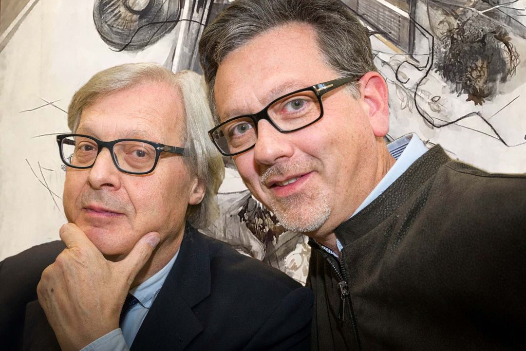 Vittorio Sgarbi e Massimiliano Fiorio nello studio di Rivoli in via Petrarca, 20/bis