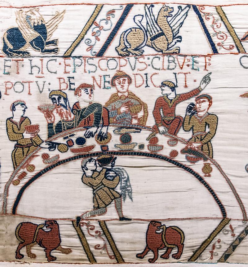 Arazzo di Bayeux, seconda metà dell' XI secolo, particolare di un banchetto