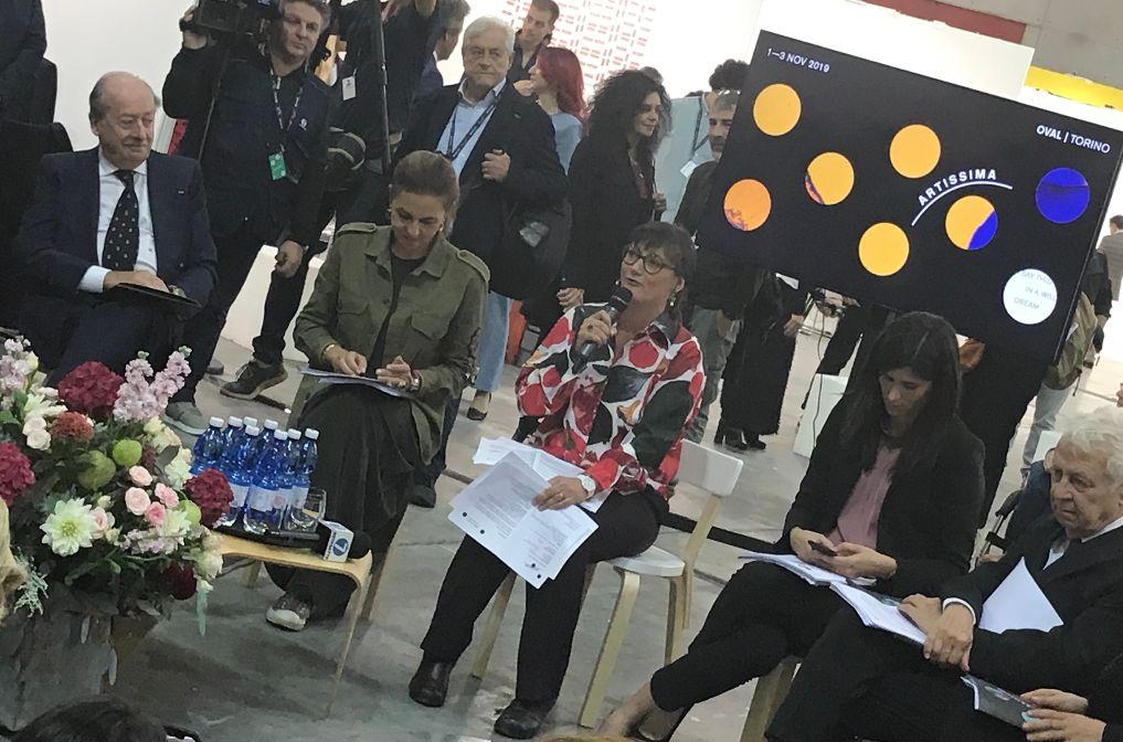 Torino, OVAL,Conferenza stampa di presentazione di Artissima 2019, ILARIA BONACOSSA, direttrice di Artissima, e CHIARA APPENDINO, Sindaca di Torino