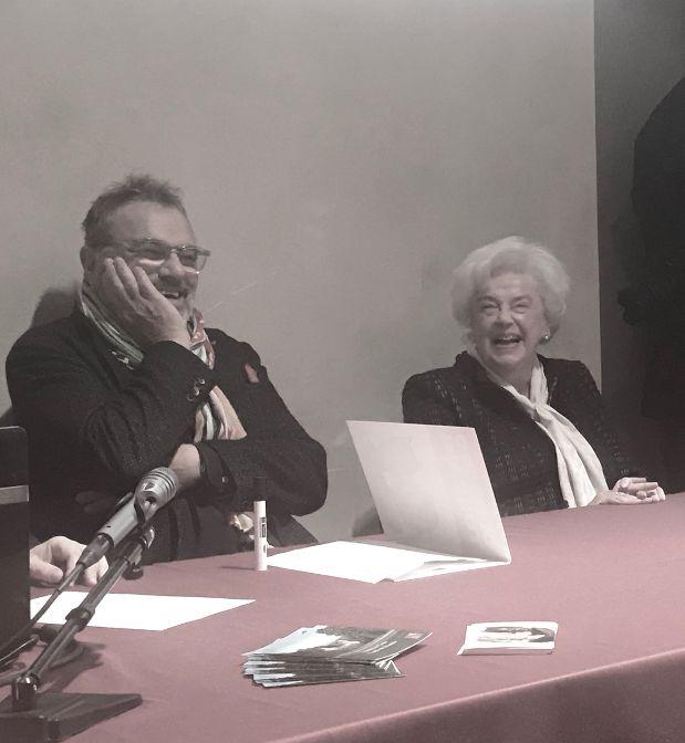 Castello di Miradolo, Oliviero Toscani e Maria Luisa Cosso durante la conferenza stampa di presentazione della mostra